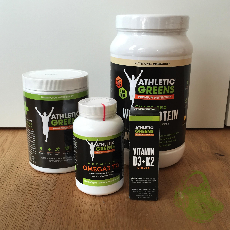 Mein Testpaket bestehend aus AG Pulver, Whey Protein, Omega3 Kapseln und Vitamin D3 und K2 Tropfen